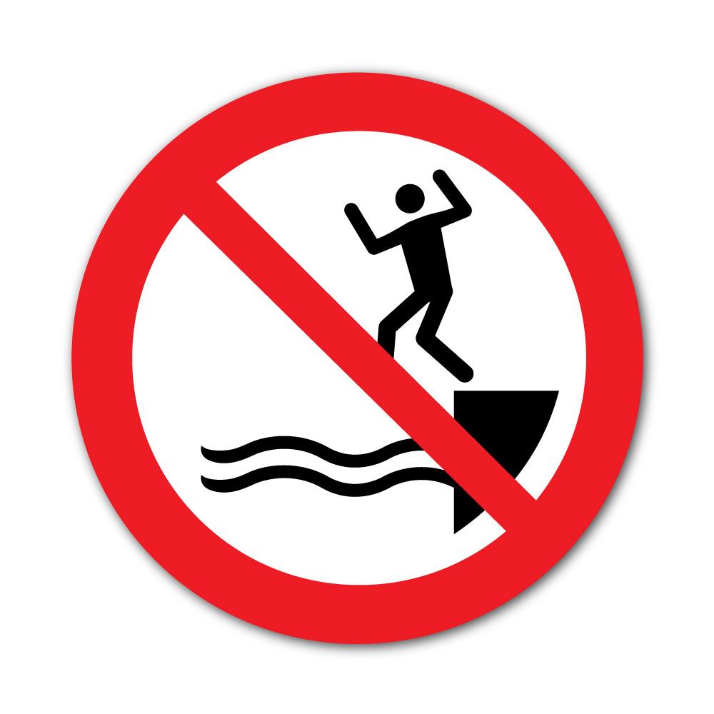 Sticker Interdiction de Sauter dans l'eau 100X100mm magnetique