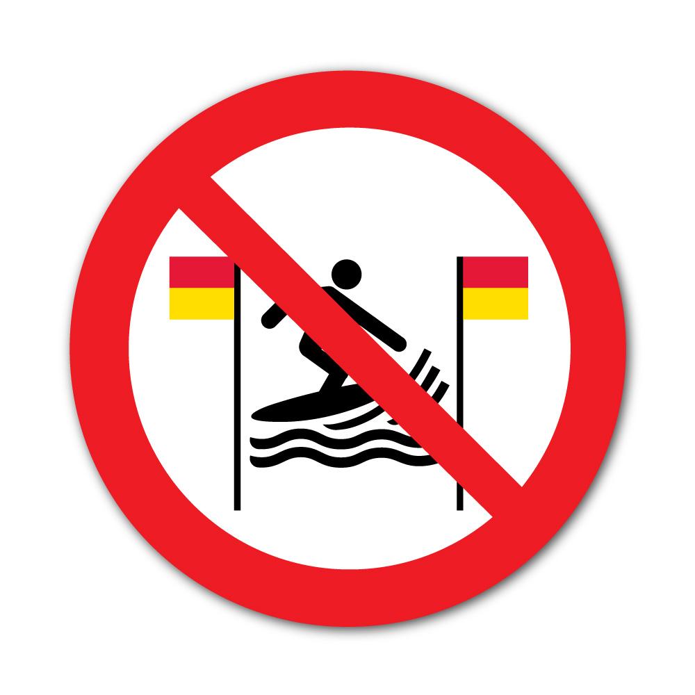 Sticker Interdiction de Surfer entre les drapeaux jaunes et rouges 100X100mm magnetique