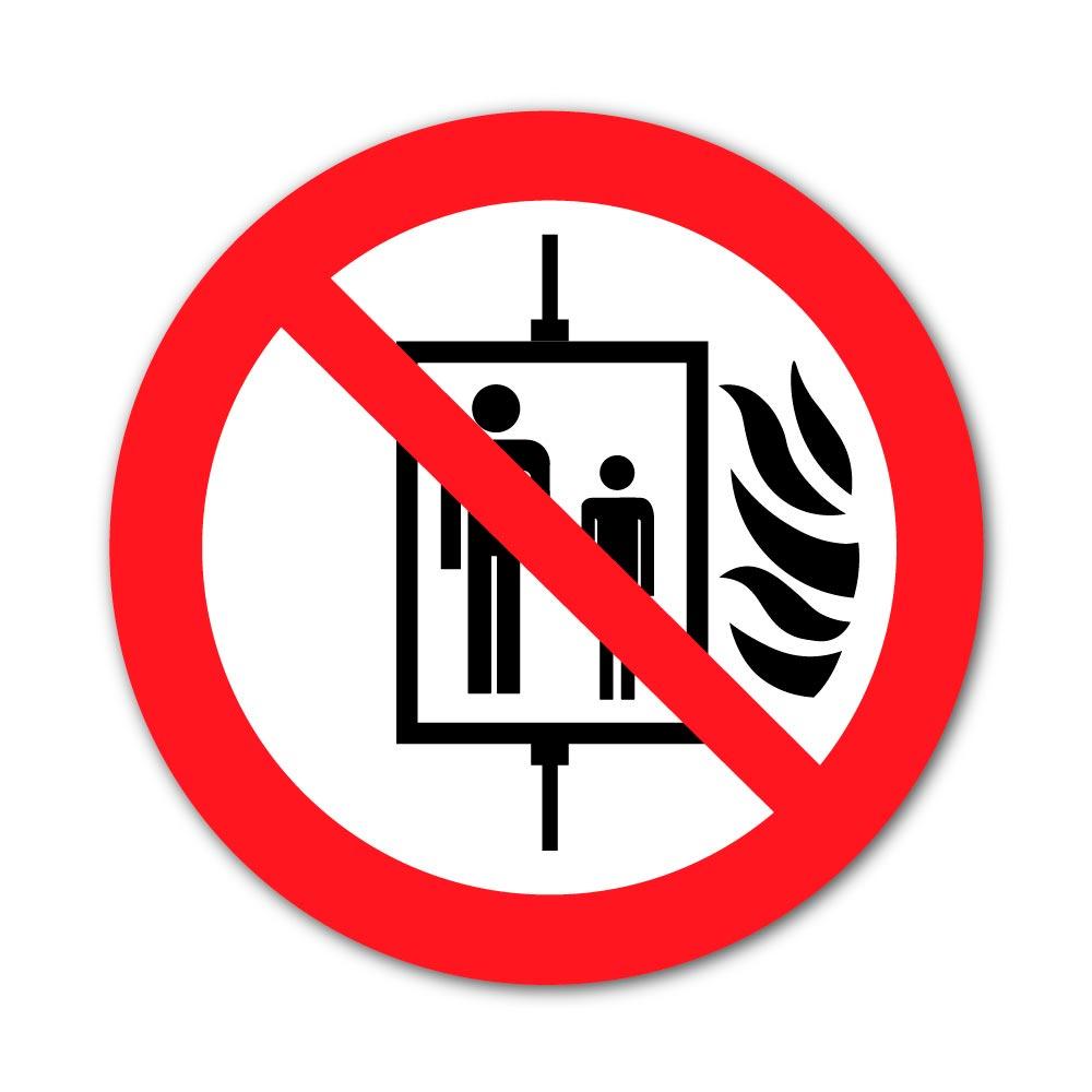 Sticker Interdiction d'utiliser l'ascenseur en cas d'incendie 100X100mm magnetique