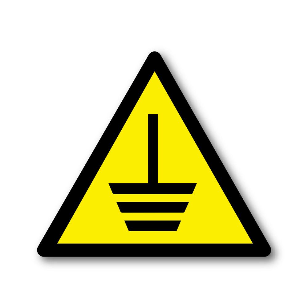 Sticker Danger mise à la terre 100X100mm magnetique