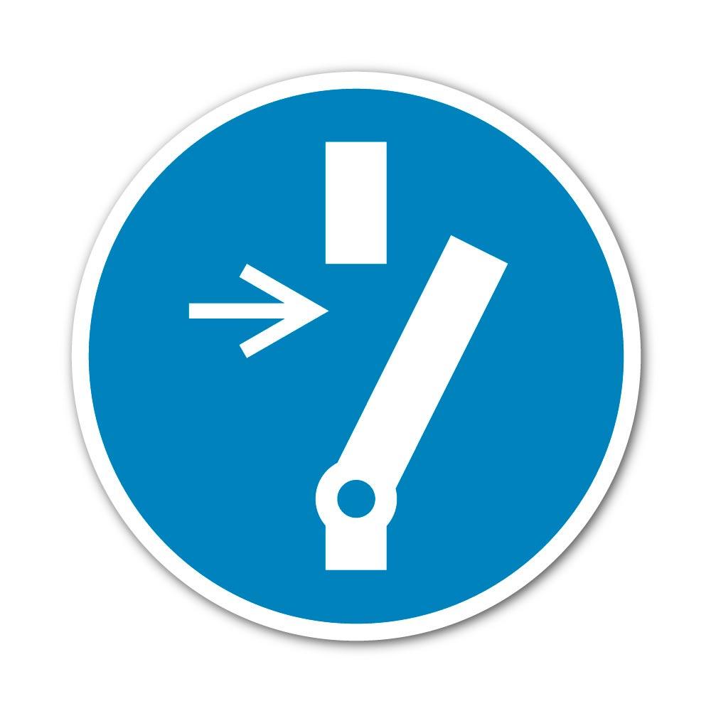 Sticker Obligation de débrancher avant entretien 100X100mm magnetique