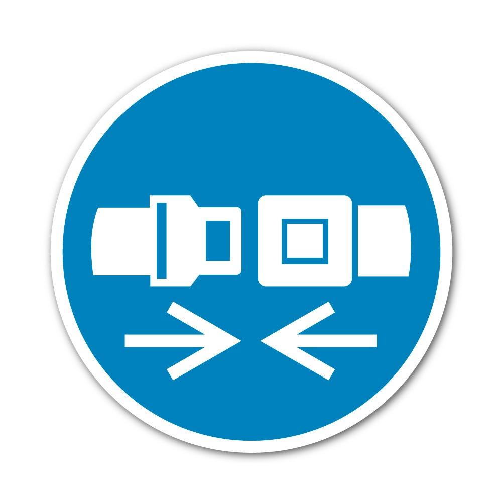 Sticker Ceinture de sécurité obligatoire 100X100mm magnetique