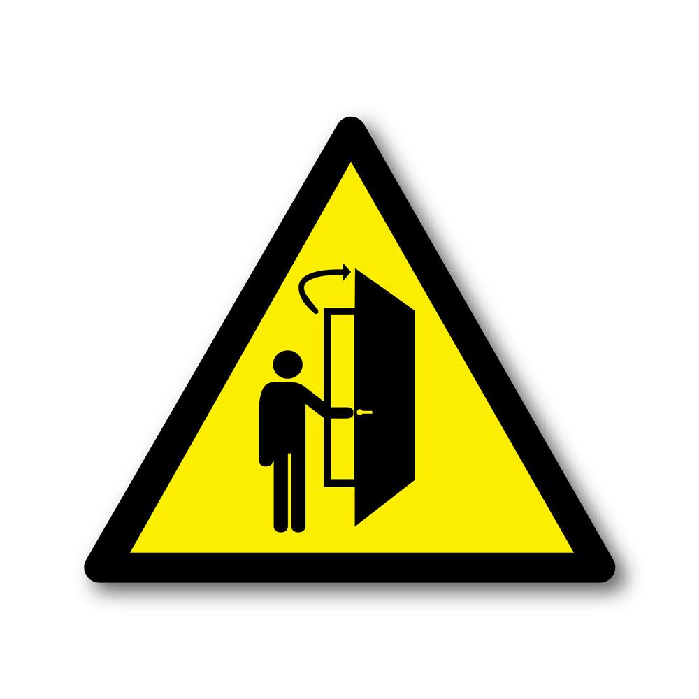 Sticker Attention la porte s'ouvre vers l'intérieur 100X100mm magnetique