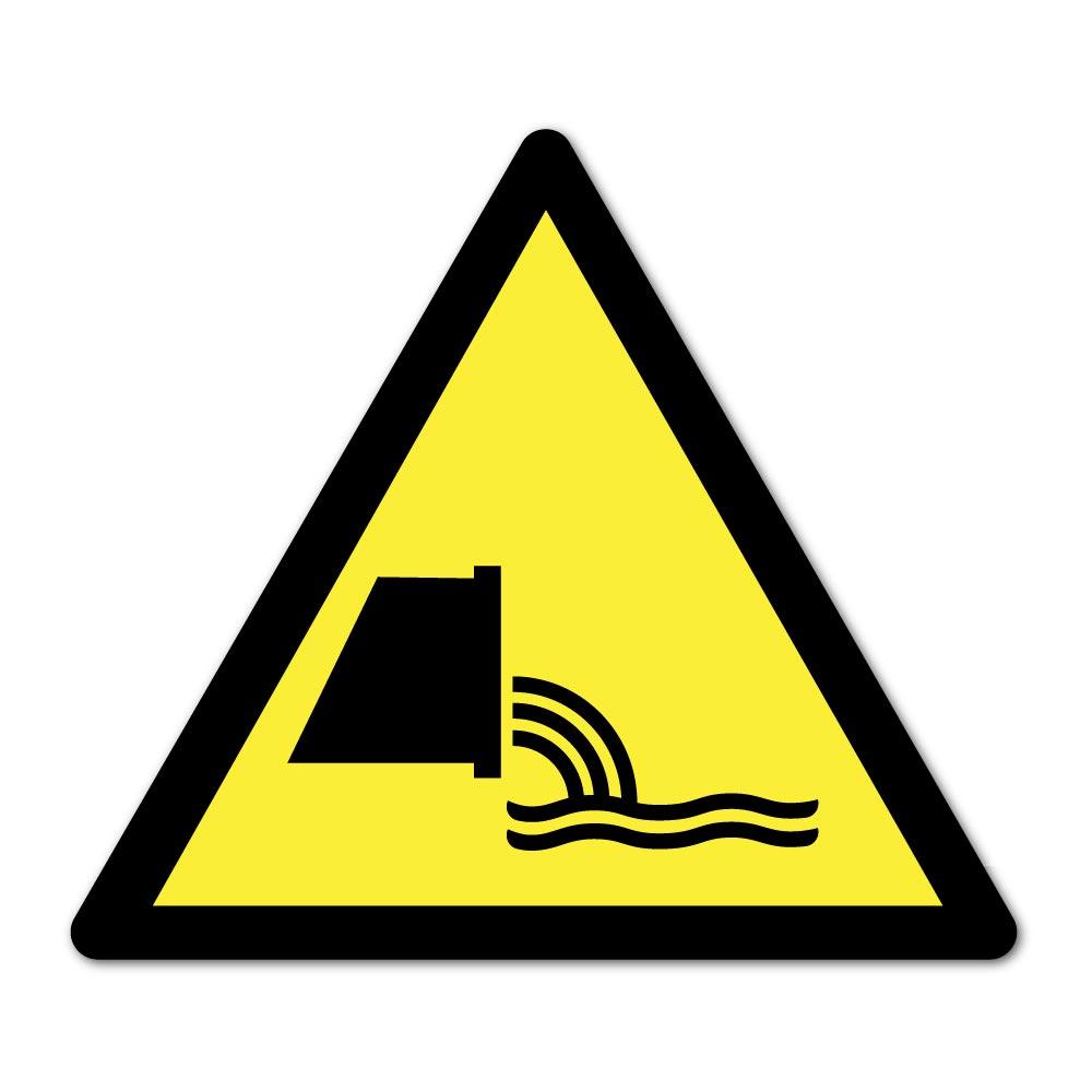 Sticker Danger Rejet d'effluents d'eaux usées 100X100mm magnetique