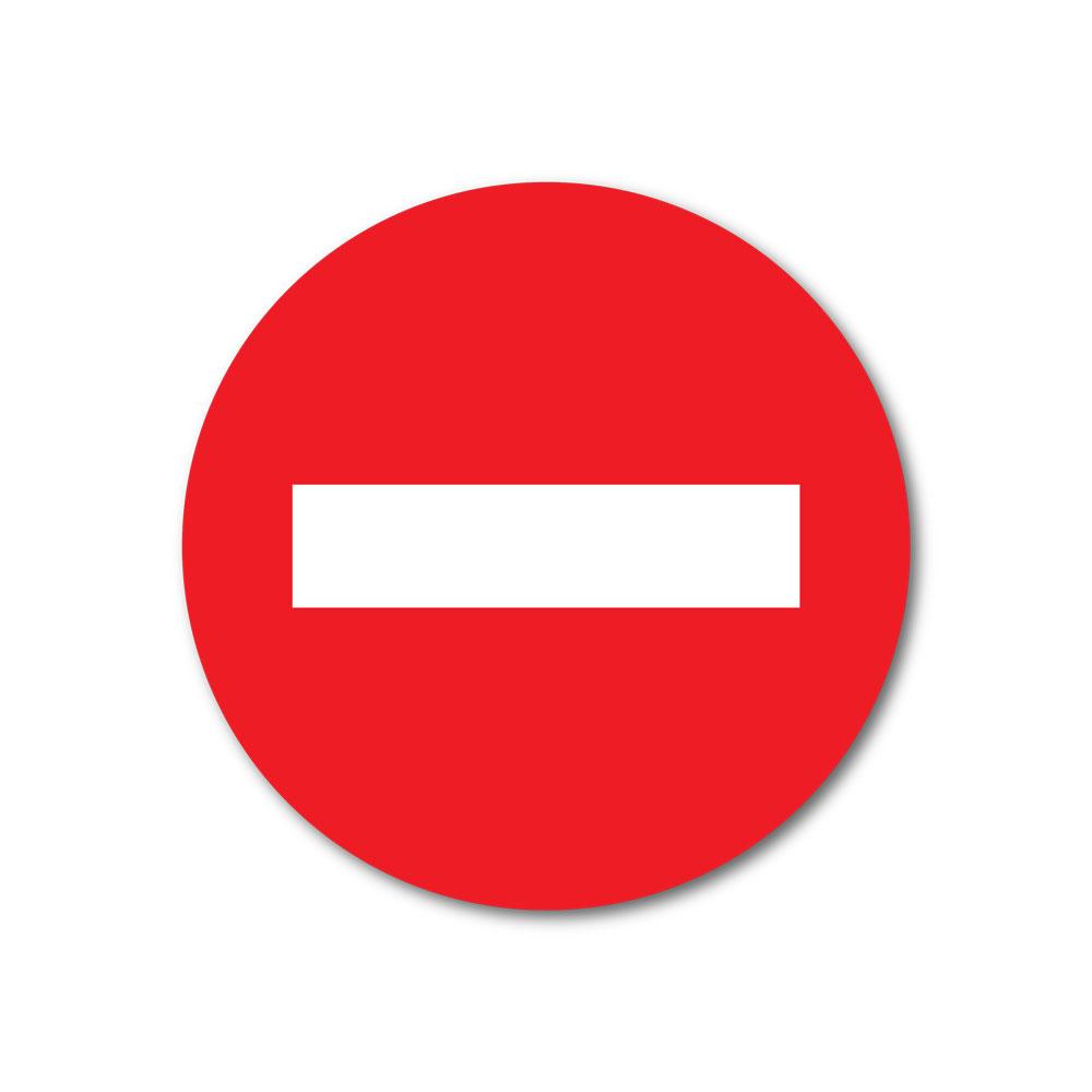 Sticker Sens interdit 100X100mm magnetique