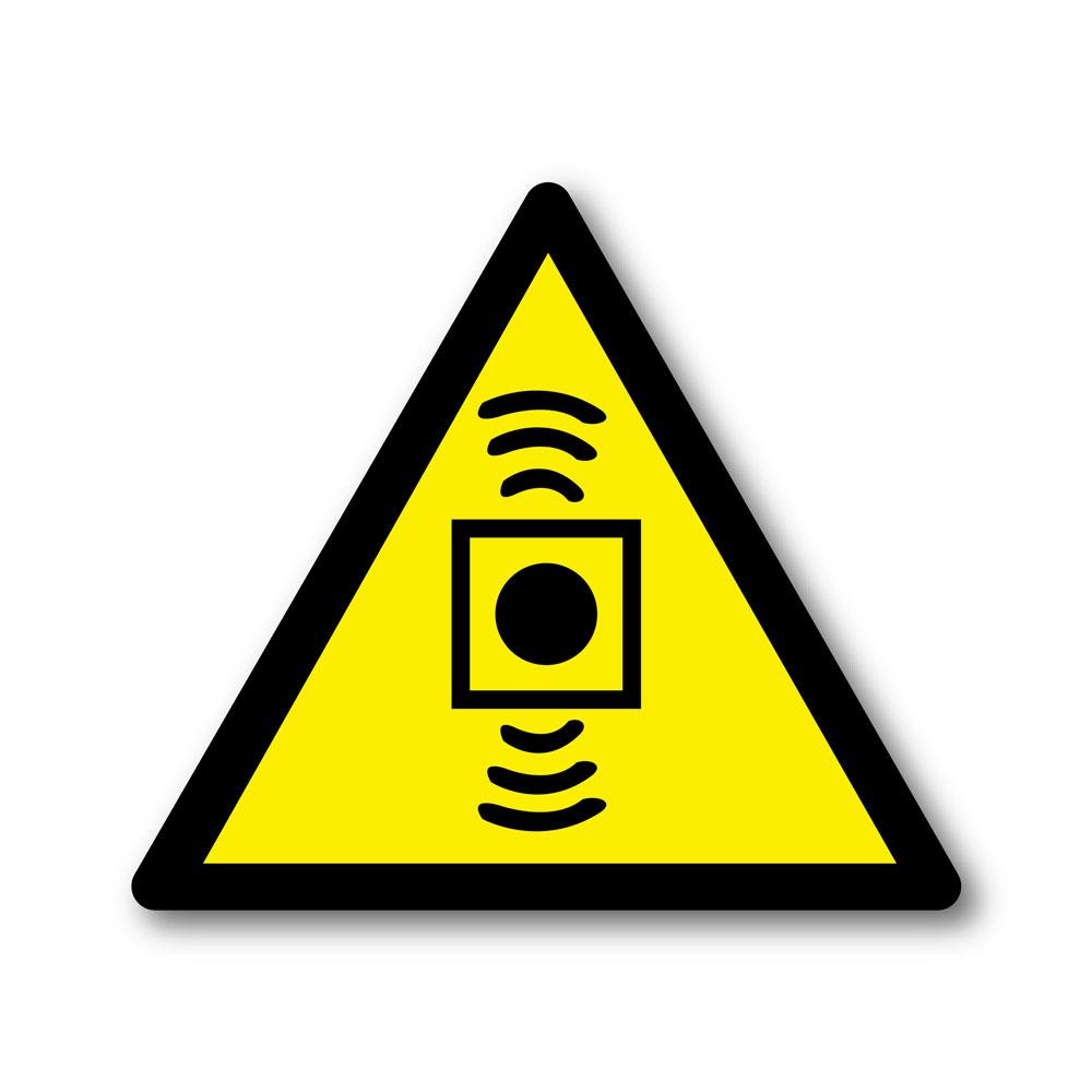 Sticker Attention site sous alarme 100X100mm magnetique