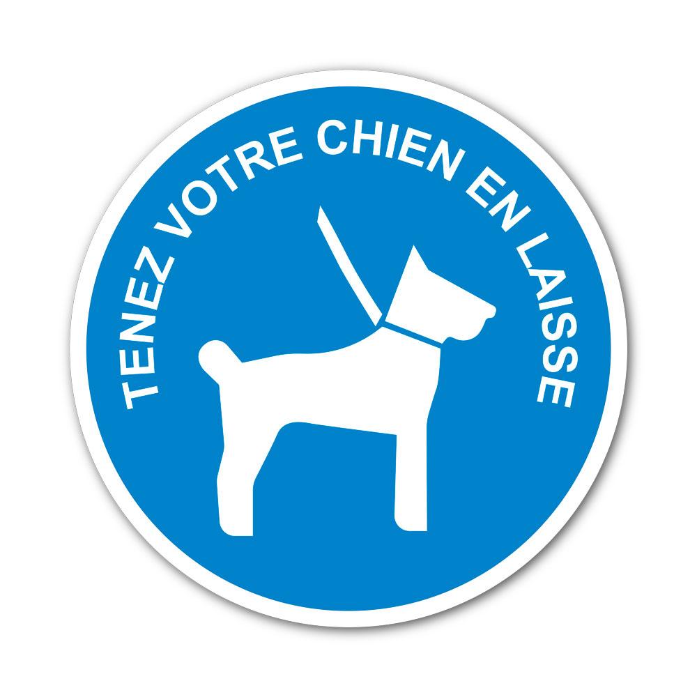 Sticker Obligation de tenir les chiens en laisse 100X100mm magnetique