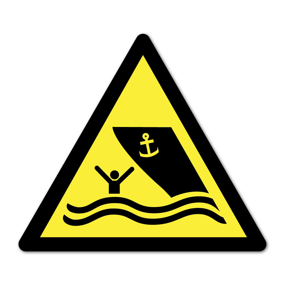 Sticker Danger Zone de navigation 100X100mm magnetique
